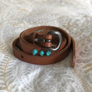 Lucky Brand turquoise and leather belt